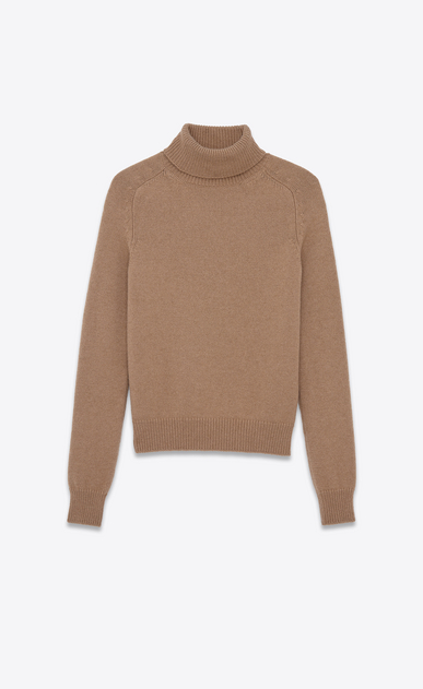 SAINT LAURENT Knitwear Tops U Classic Turtleneck in Dark Beige Camel Hair a_V4