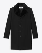 SAINT LAURENT Coats U Classic Faux Fur Collar Coat in Black Virgin Wool f