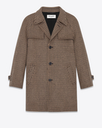 SAINT LAURENT Coats U Classic Belted Coat in Black and Camel Houndstooth Virgin Wool f