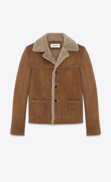 SAINT LAURENT Leather jacket U Oversized Rancher Coat in Tobacco Shearling a_V4