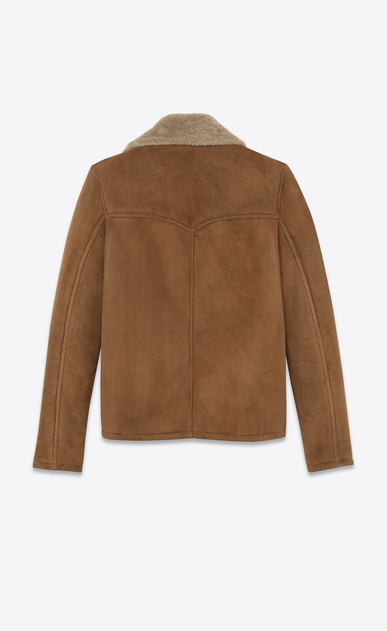 SAINT LAURENT Leather jacket U Oversized Rancher Coat in Tobacco Shearling b_V4