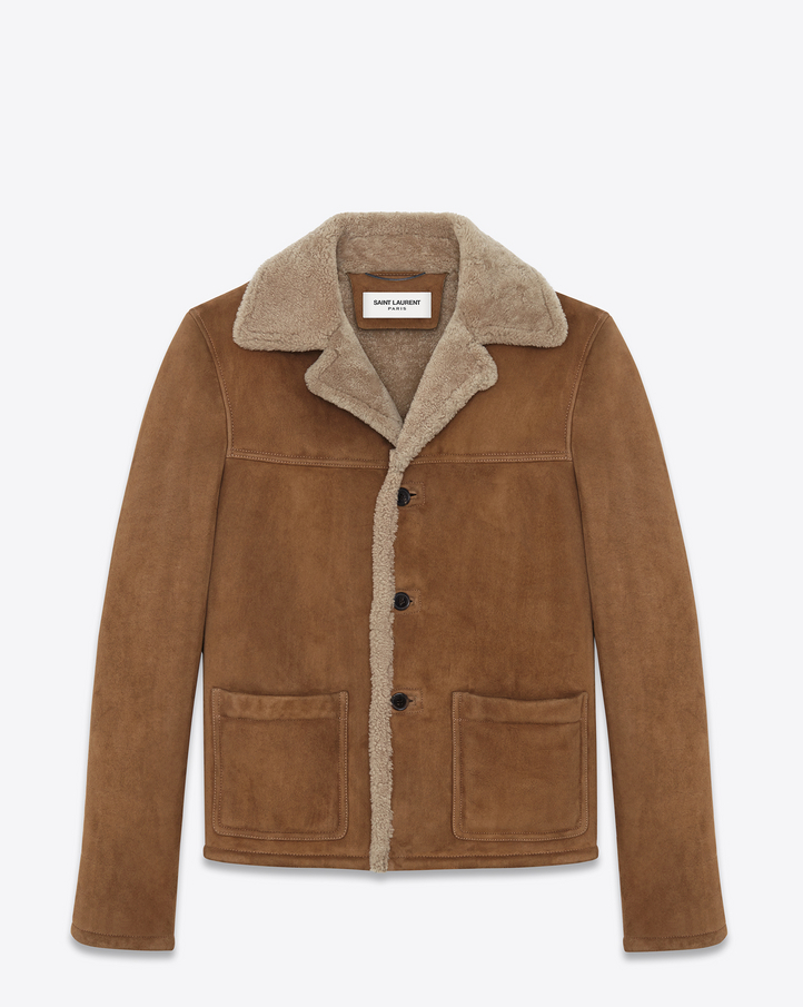 Saint Laurent Oversized Rancher Coat In Tobacco Shearling | YSL.com