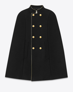 SAINT LAURENT Cape D Short Officer Cape in Black Wool and Nylon f