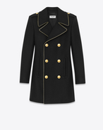 SAINT LAURENT Coats D BABYDOLL Caban Coat in Black Wool and Nylon f