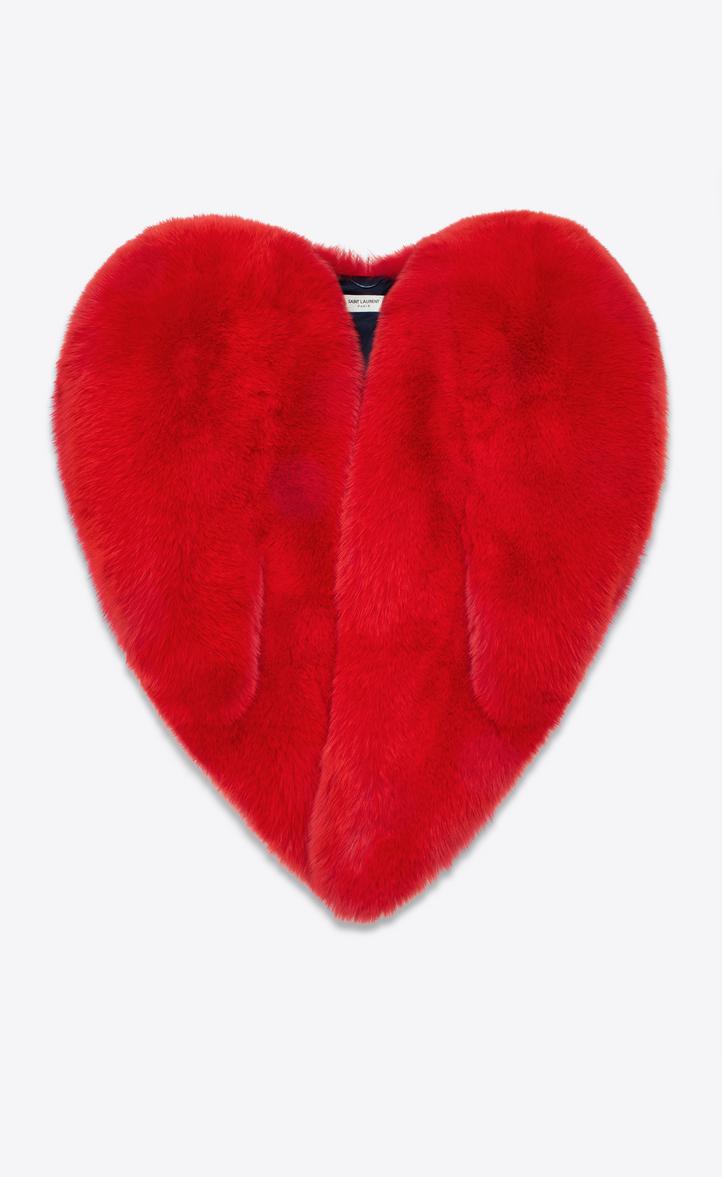 Saint Laurent Heart Cape In Red Fox Fur Ysl Com
