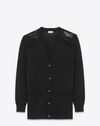 SAINT LAURENT Stricktops D oversized grunge v-neck cardigan in black cotton and acrylic f