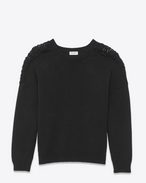 SAINT LAURENT Stricktops D grunge crewneck sweater in black cotton and acrylic f