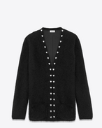 SAINT LAURENT Stricktops D oversized heart studded cardigan in black virgin wool and polyamide mohair and silver-toned metal f