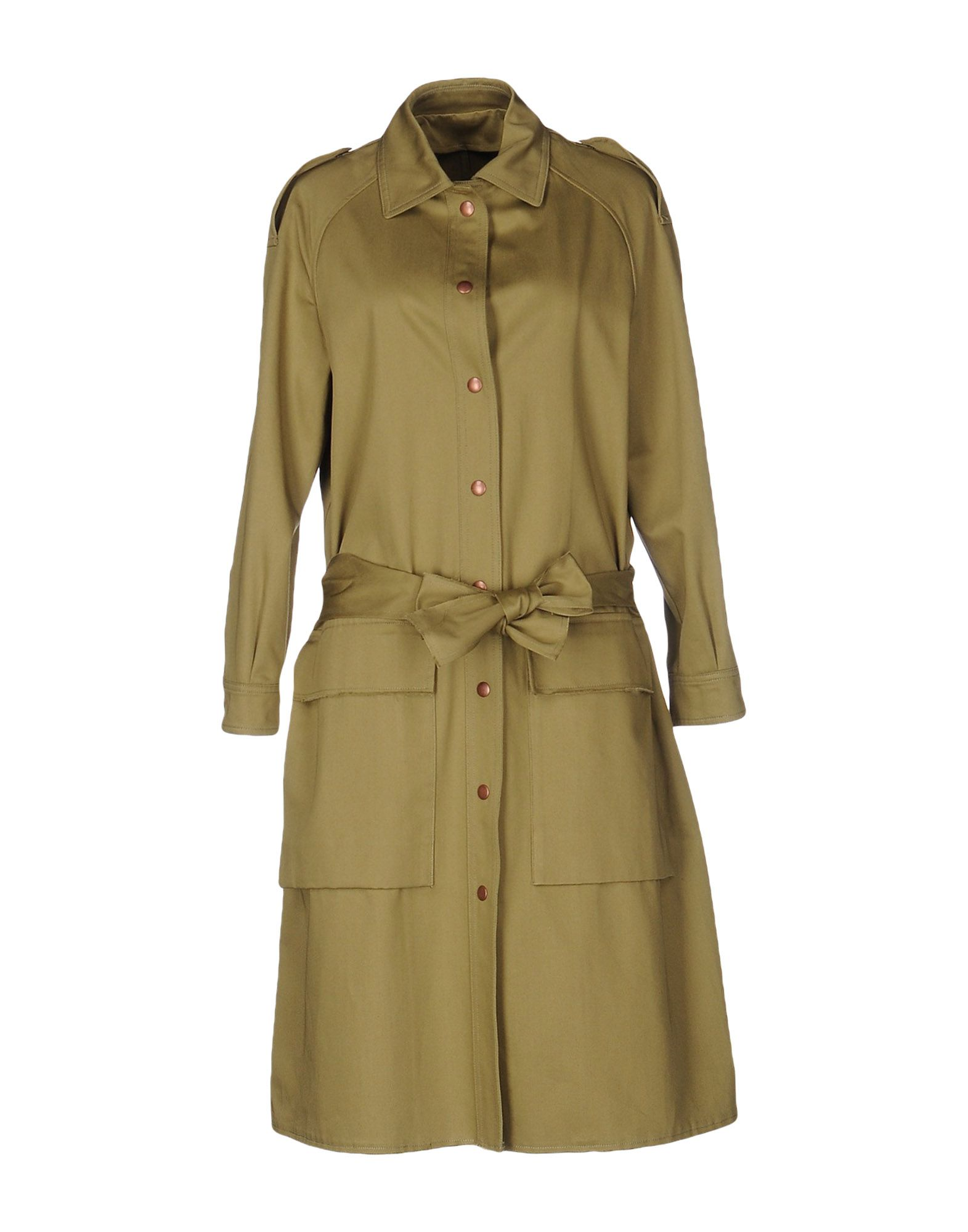COVERT Belted Coats in Military Green