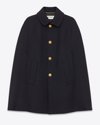 SAINT LAURENT Cape D Mac Cape in Navy Blue Diagonally Woven Wool and Silk f