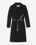SAINT LAURENT Mäntel D PEIGNOIR Coat in Black Double-Faced Wool and Cashmere f