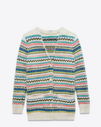 SAINT LAURENT Knitwear Tops D Oversized Fair Isle Cardigan in Ivory and Multicolor Mohair, Wool and Nylon f