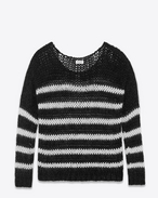 Oversized Bateau Neckline Sweater in Black and Ivory Wool, Mohair and Nylon