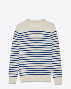 SAINT LAURENT Knitwear Tops D GRUNGE Crewneck sweater in Ivory and Blue Striped Cashmere f