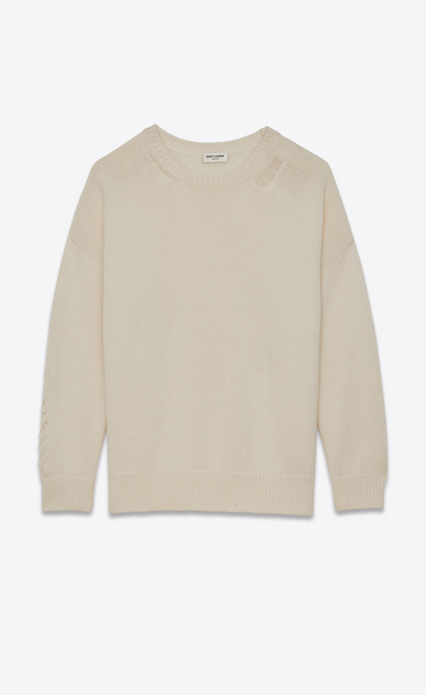 SAINT LAURENT Knitwear Tops D GRUNGE Crewneck sweater in Ivory Cashmere a_V4