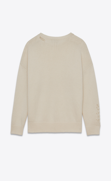 SAINT LAURENT Knitwear Tops D GRUNGE Crewneck sweater in Ivory Cashmere b_V4
