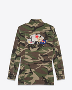 "SAINT LAURENT Casual Jacken D ""LOVE"" Army Coat in Vintage Camouflage Cotton f"