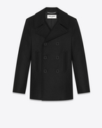 SAINT LAURENT Coats U classic caban marin in black virgin wool f