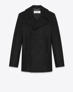 SAINT LAURENT Cappotti U caban classic marin nero in lana vergine f