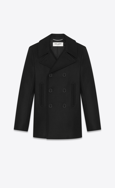 SAINT LAURENT Coats Man caban marin in black virgin wool a_V4