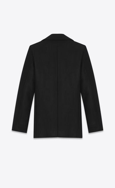 SAINT LAURENT Coats Man caban marin in black virgin wool b_V4