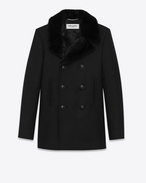 SAINT LAURENT Mäntel U Classic CABAN Coat in Black Diagonally Woven Wool and Black Beaver Fur  f