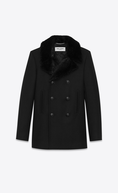 SAINT LAURENT Coats U Classic CABAN Coat in Black Diagonally Woven Wool and Black Beaver Fur  a_V4