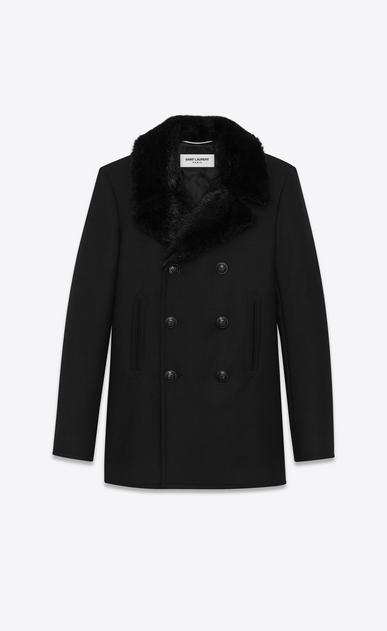 SAINT LAURENT Mäntel U Klassischer Cabanmantel aus schwarzer, diagonal gewebter Wolle und schwarzem Biberfell  a_V4