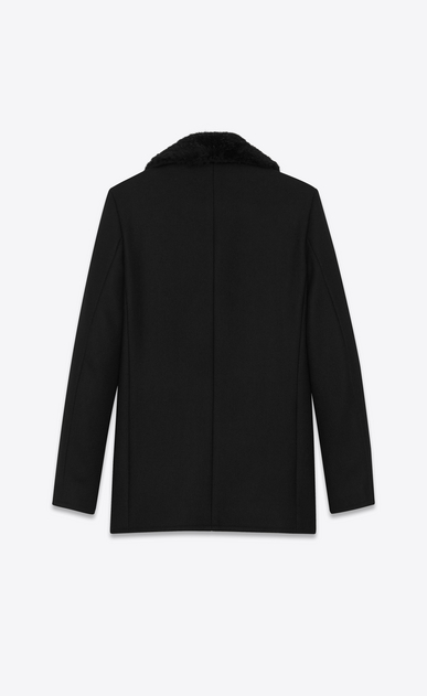 SAINT LAURENT Coats U Classic CABAN Coat in Black Diagonally Woven Wool and Black Beaver Fur  b_V4