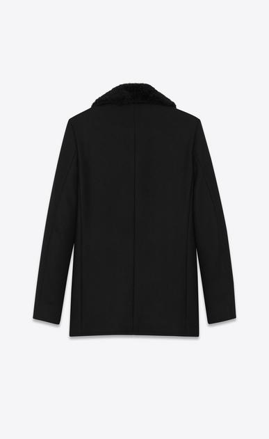 SAINT LAURENT Mäntel U Klassischer Cabanmantel aus schwarzer, diagonal gewebter Wolle und schwarzem Biberfell  b_V4