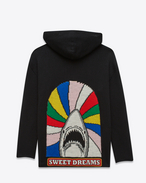 "SAINT LAURENT Top Tricot U cardigan Oversized con cappuccio ""SWEET DREAMS"" Shark multicolore e nero in jacquard di lana intessuto f"
