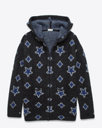 SAINT LAURENT Stricktops U Oversized Hooded Cardigan in Black, Blue and Ivory Star Woven Mohair and Nylon Jacquard f