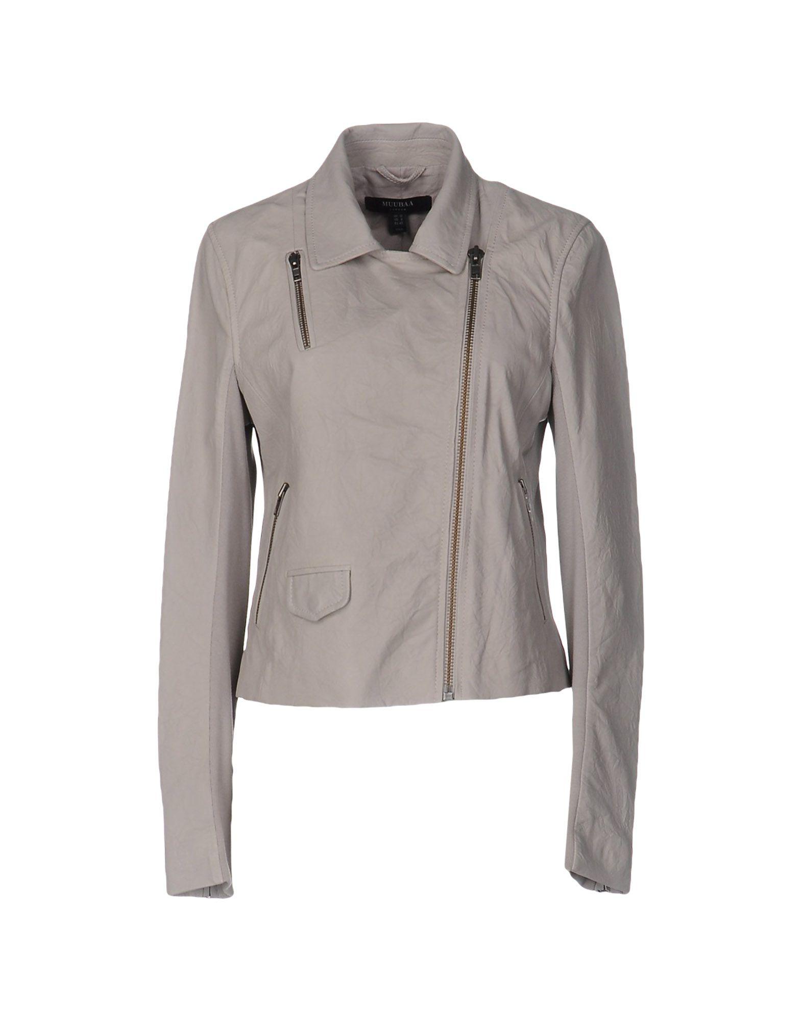 《送料無料》MUUBAA レディース ブルゾン ライトグレー 6 羊革(ラムスキン) 100% / 紡績繊維