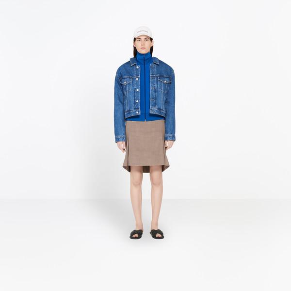 BALENCIAGA Jacket Woman Swing Collar Denim Jacket g