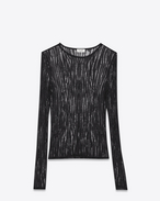 SAINT LAURENT Knitwear Tops D Black Loose Knit Crewneck Sweater f