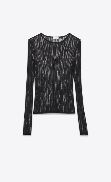 SAINT LAURENT Knitwear Tops D Loose Knit Crewneck Sweater in Black viscose a_V4