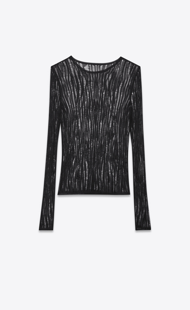 SAINT LAURENT Knitwear Tops D Loose Knit Crewneck Sweater in Black viscose b_V4