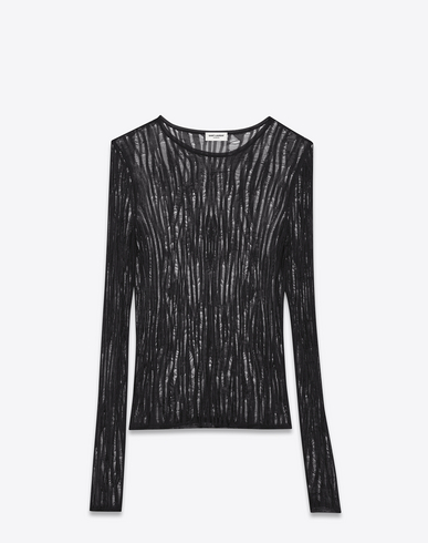 Loose Knit Crewneck Sweater In Black Viscose