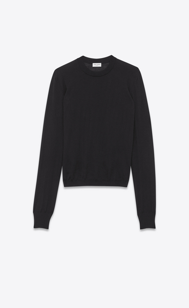 SAINT LAURENT Knitwear Tops D crewneck sweater in black cashmere and silk a_V4