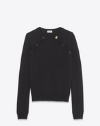 SAINT LAURENT Tops Maille D Sweat marin à boutons noir f