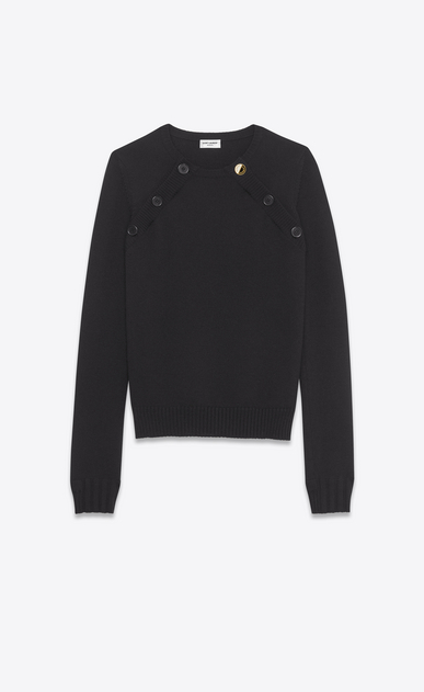 SAINT LAURENT Knitwear Tops D Sailor Double Button Sweater in black wool a_V4