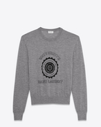 SAINT LAURENT Knitwear Tops D saint laurent université sweater in heather grey in cashmere jacquard f