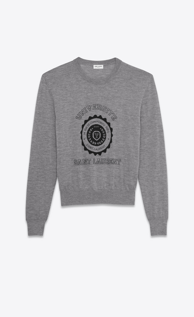 SAINT LAURENT Knitwear Tops D saint laurent université sweater in heather grey in cashmere jacquard a_V4