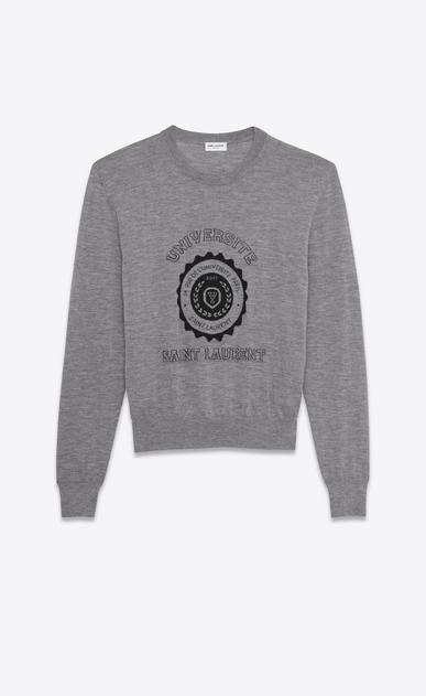 SAINT LAURENT Top Tricot D maglione saint laurent université grigio melange in jacquard di cashmere a_V4