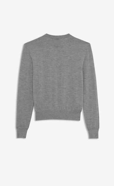 SAINT LAURENT Knitwear Tops D saint laurent université sweater in heather grey in cashmere jacquard b_V4