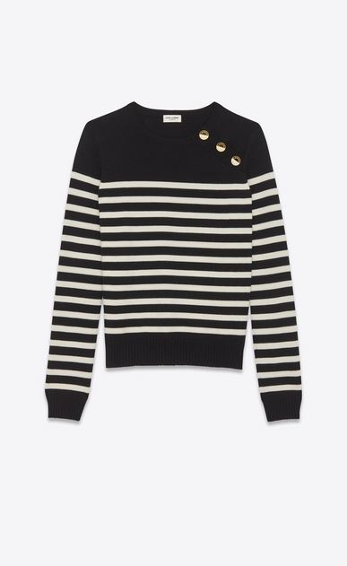 SAINT LAURENT Knitwear Tops D striped sailor sweater in black and ivory wool a_V4