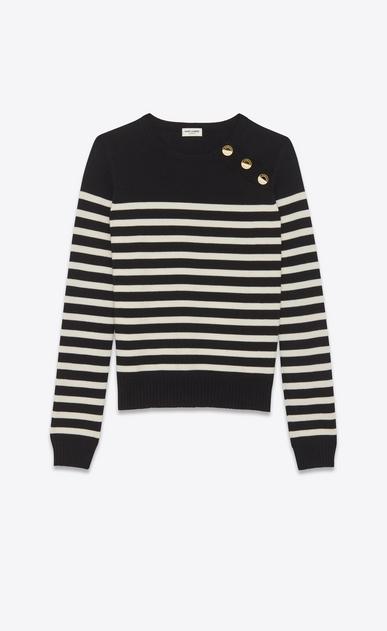 SAINT LAURENT Tops Maille D pull marin à rayures en laine noir et ivoire a_V4