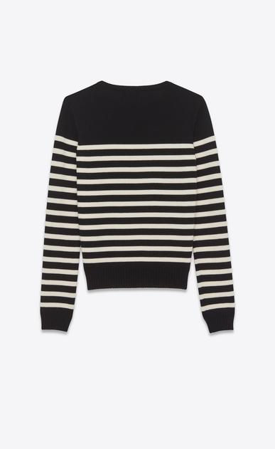 SAINT LAURENT Tops Maille D pull marin à rayures en laine noir et ivoire b_V4