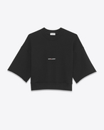 SAINT LAURENT Stricktops D Schwarzes Saint Laurent Crop-Sweatshirt mit kurzen Ärmeln f