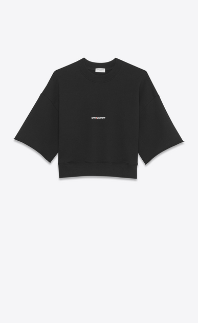 SAINT LAURENT Sportswear Tops Damen Schwarzes Saint Laurent Crop-Sweatshirt mit kurzen Ärmeln a_V4